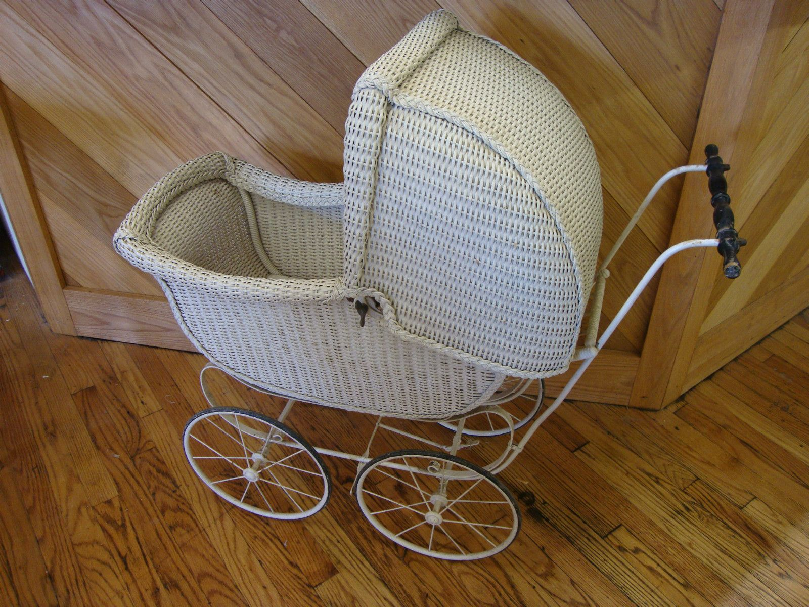 Details about Antique white wicker baby / doll stroller