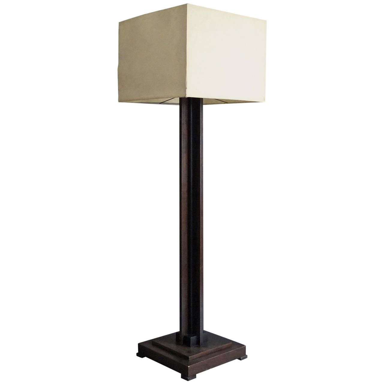 Antique floor lamp with table - Fine French Art Deco Wooden Base Square Floor Lamp