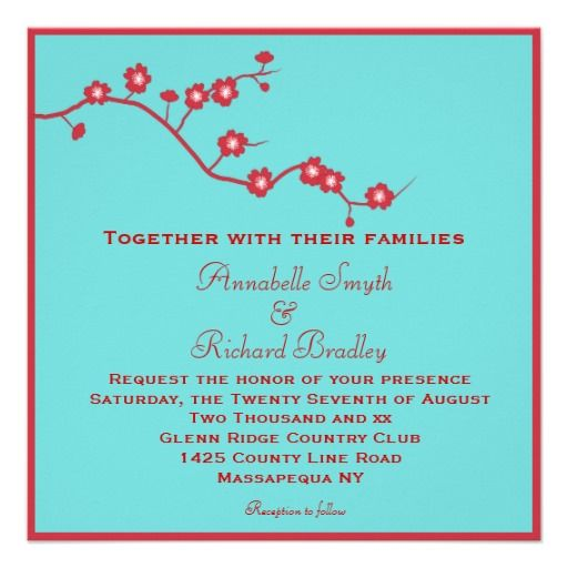 Red & Turquoise Floral Wedding Invitations