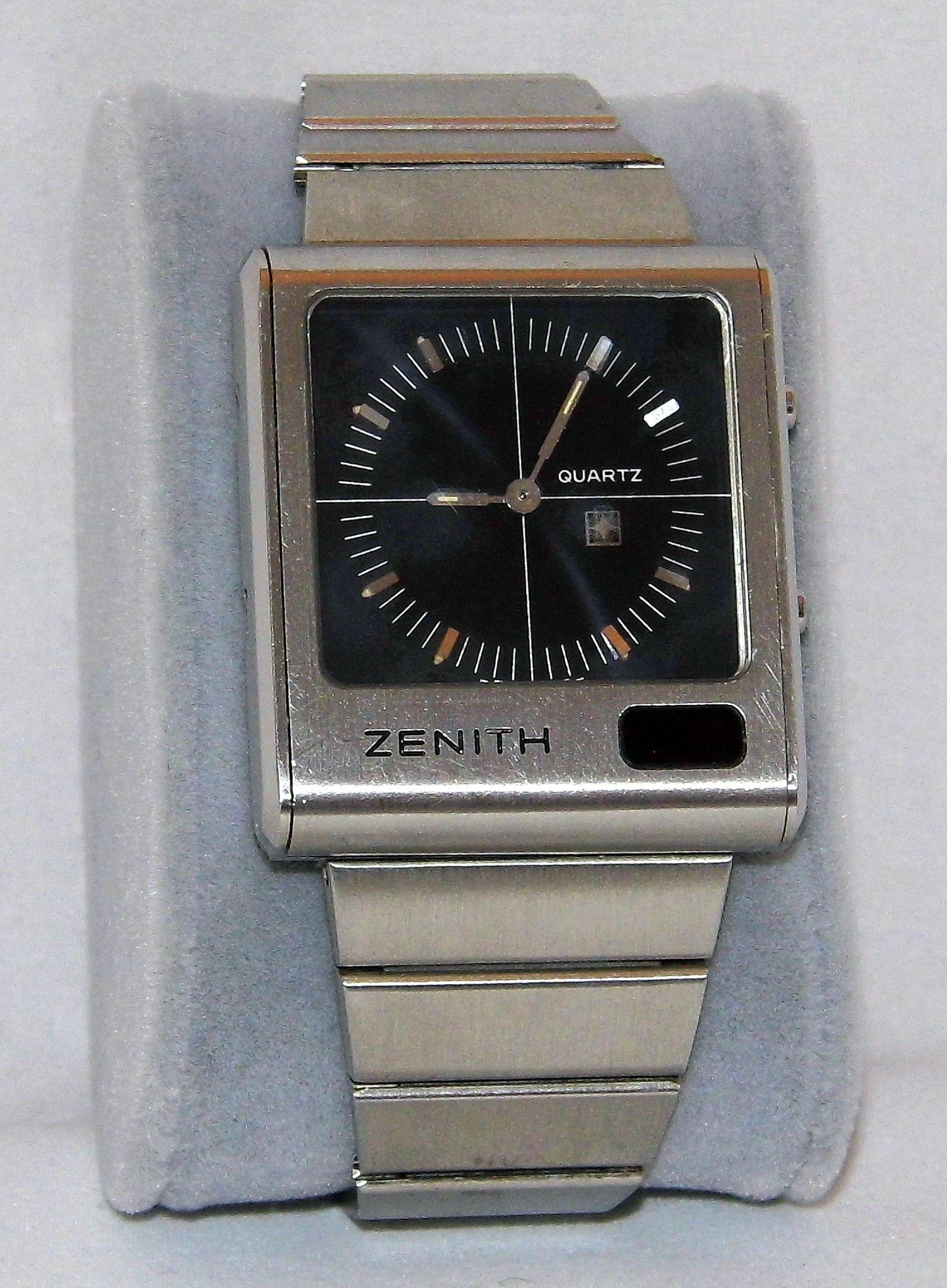 Zenith Watches Zenith Futur Time mand Ana Digi Quartz Watch Black Dial Swiss Made Circa 1975
