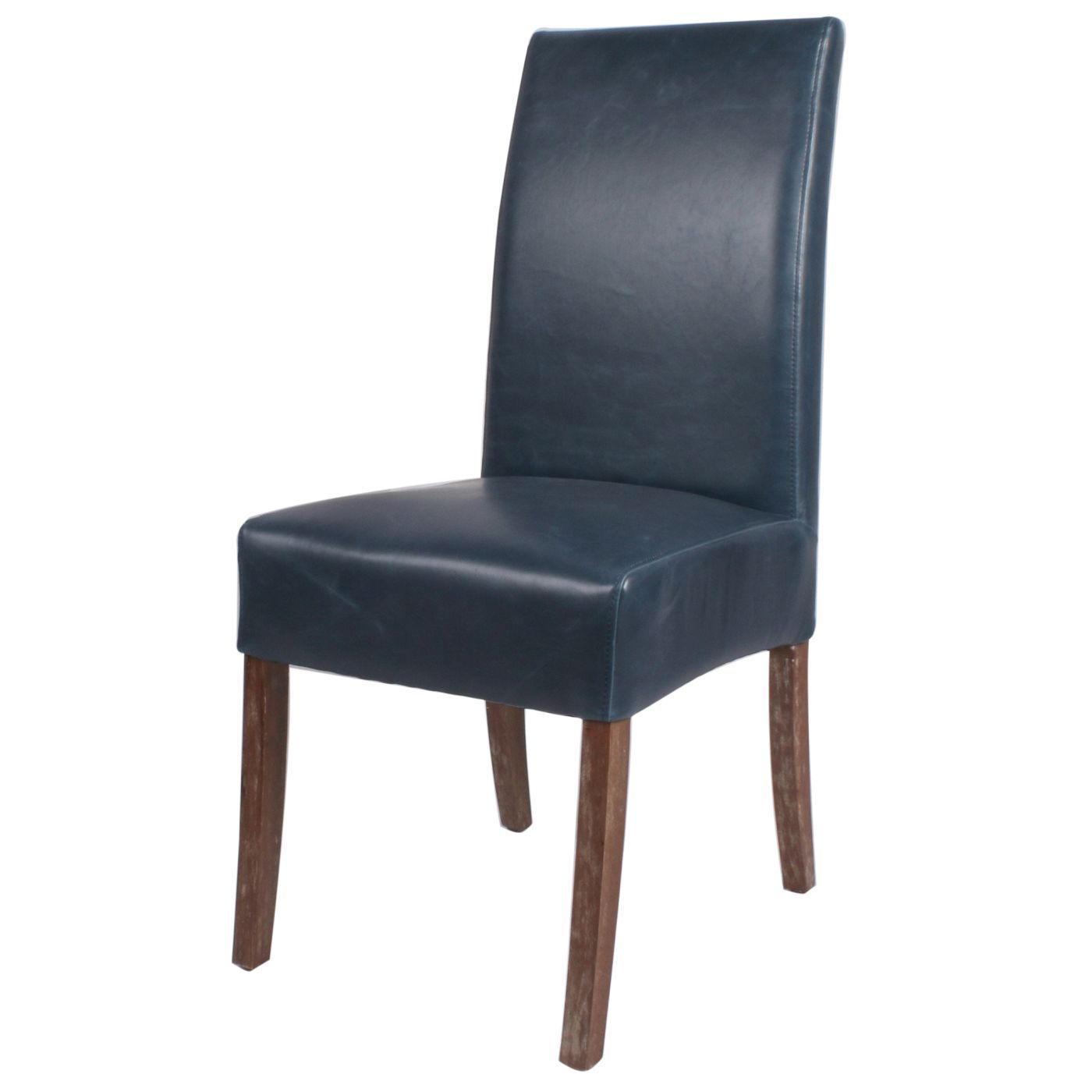 Ekenäs Sessel Valencia Bonded Leather Chair Drift Wood Legs Vintage Blue Set