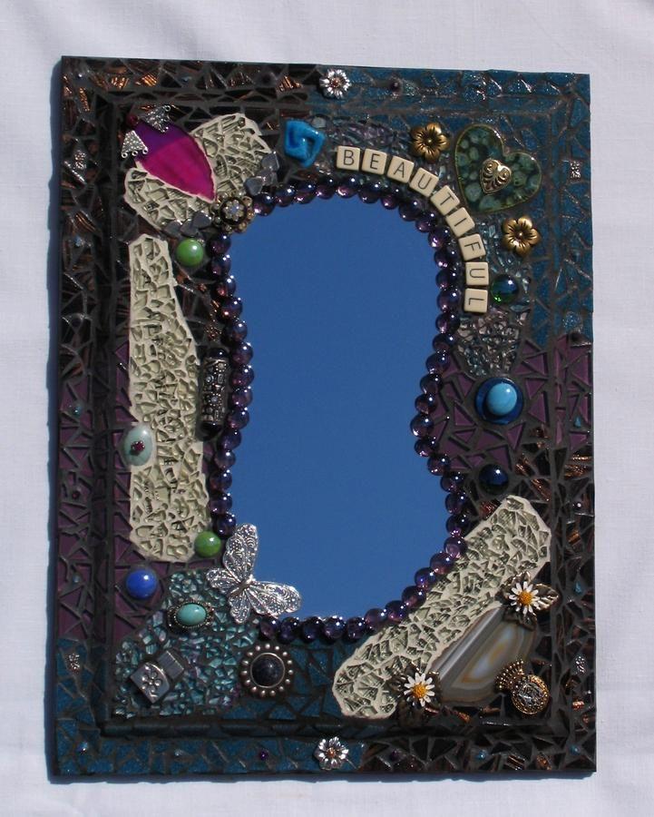 Beautiful handmade mosaic wall mirror mr115 zoom enlarge