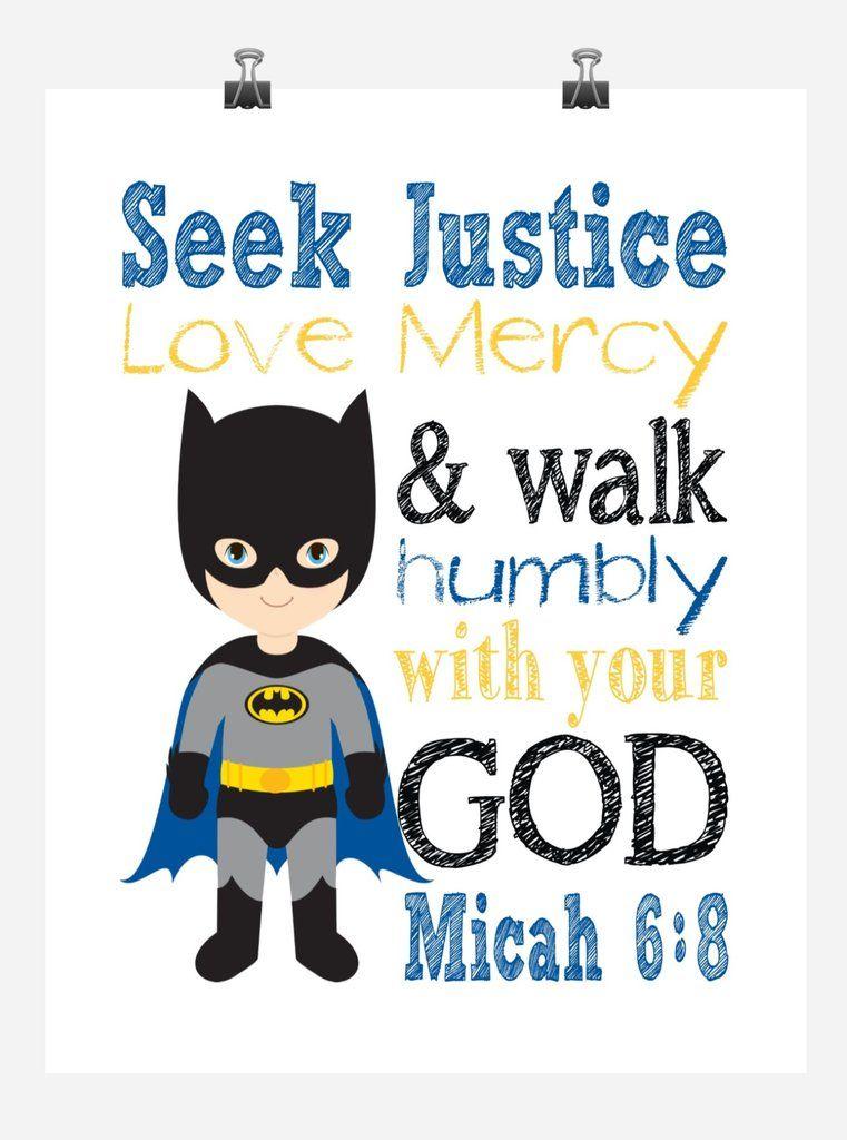Batman superhero christian nursery decor print seek