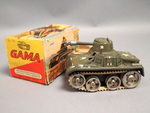 Western Bedroom Tank Toy Box Or: Vintage-1950s-Western-Germany-Gama-Tin-Litho-Toy-Tank-713