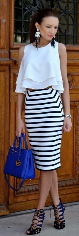 White Cascading Layer Crop top with Stripes Skirt