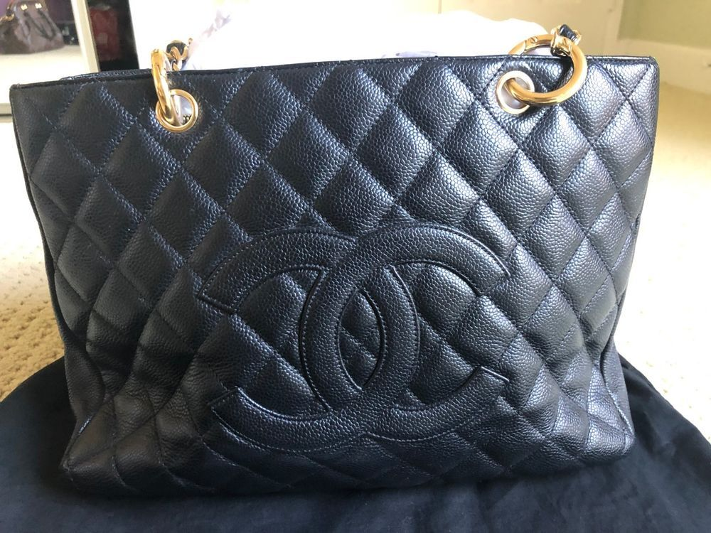 7848e5c3dbf4 Chanel Grand Shopping Tote (GST) Black Quilted Caviar Leather Gold Hardware