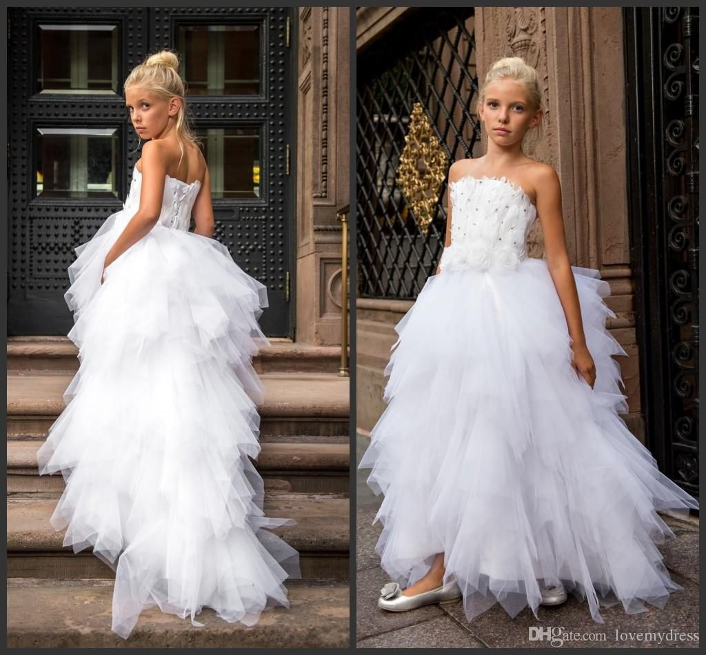 Wedding Girls Dress Kid Wear Formal Long Tiered Skirts Feathers Lace Up Back…