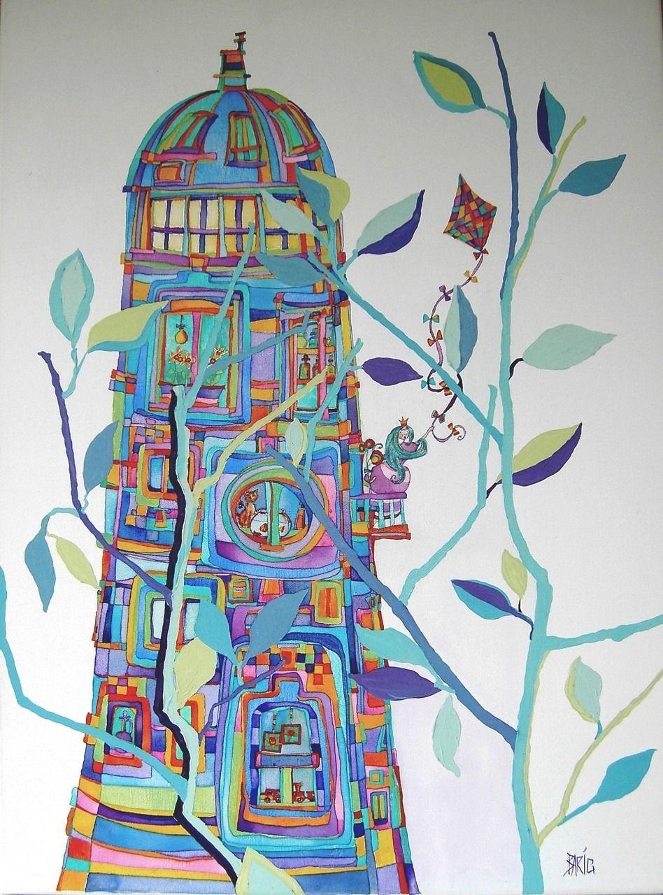 Peinture Acrylique Tableau Contes De Fees Acrylique Et Aquarelle