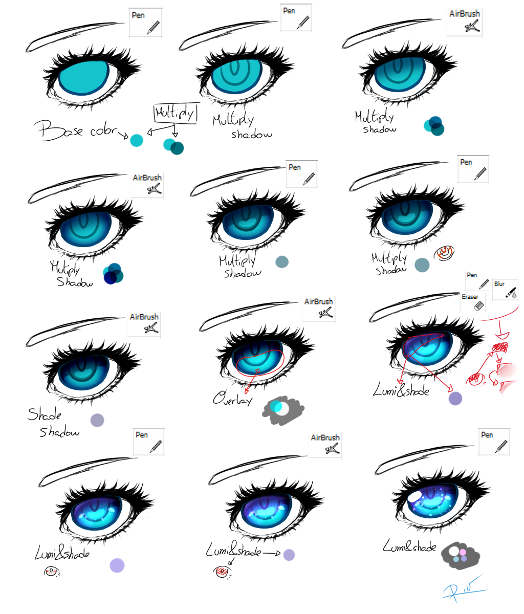 Blue Eye Tutorial By Coortenshi On Deviantart Anime Eye Drawing Eye Drawing Tutorials Blue Drawings
