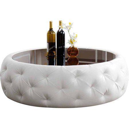Superbe Devon U0026 Claire Bonita Round Leather Coffee Table, White