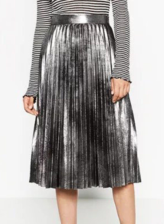 f2e3e0d66 Metallic Silver Electric Pleats Midi Skirt Women Vintage Fashion Trend 2017