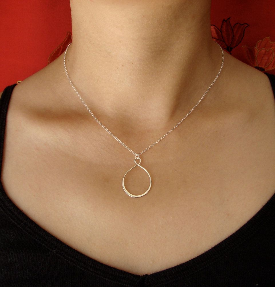 Pink jade teardrop layering necklace set stone sterling silver hand