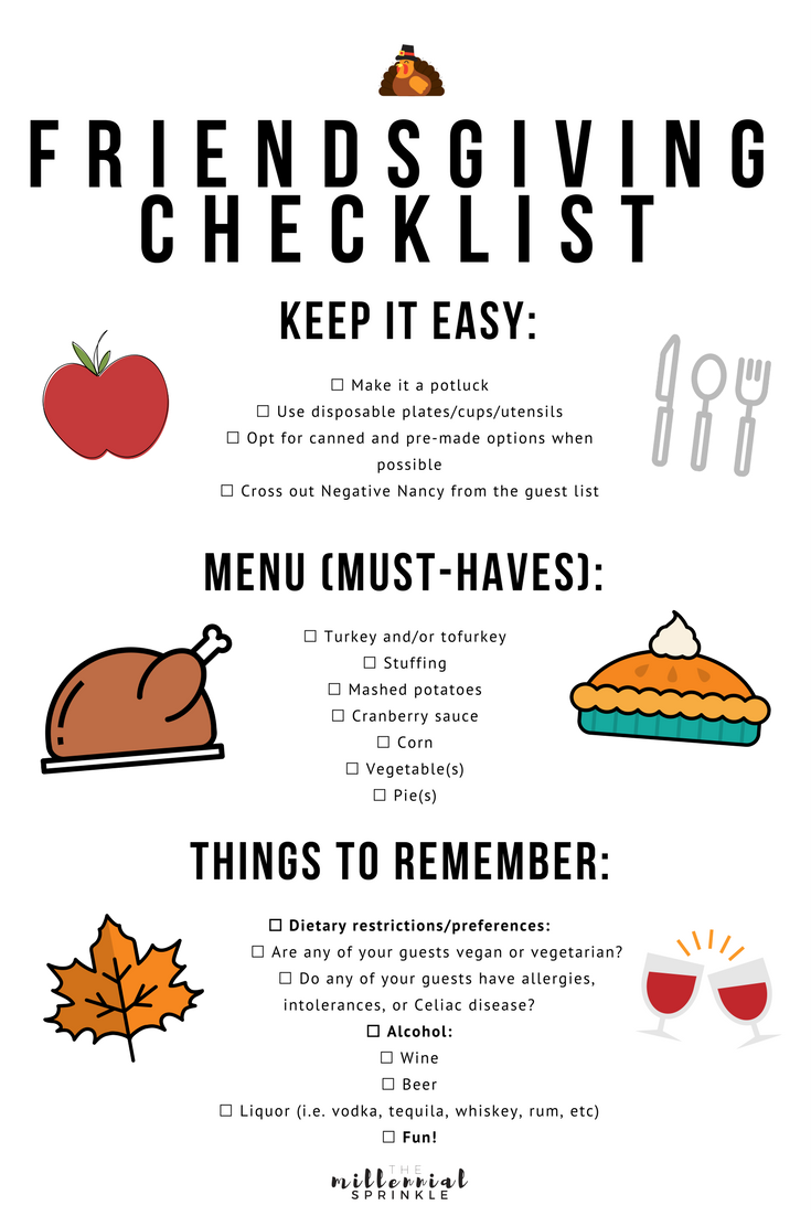 Want To Host A Stress Free Friendsgiving Use These Helpful Tips Reminders Checklist Thanksgiving Checklist Food Thanksgiving Checklist Friendsgiving