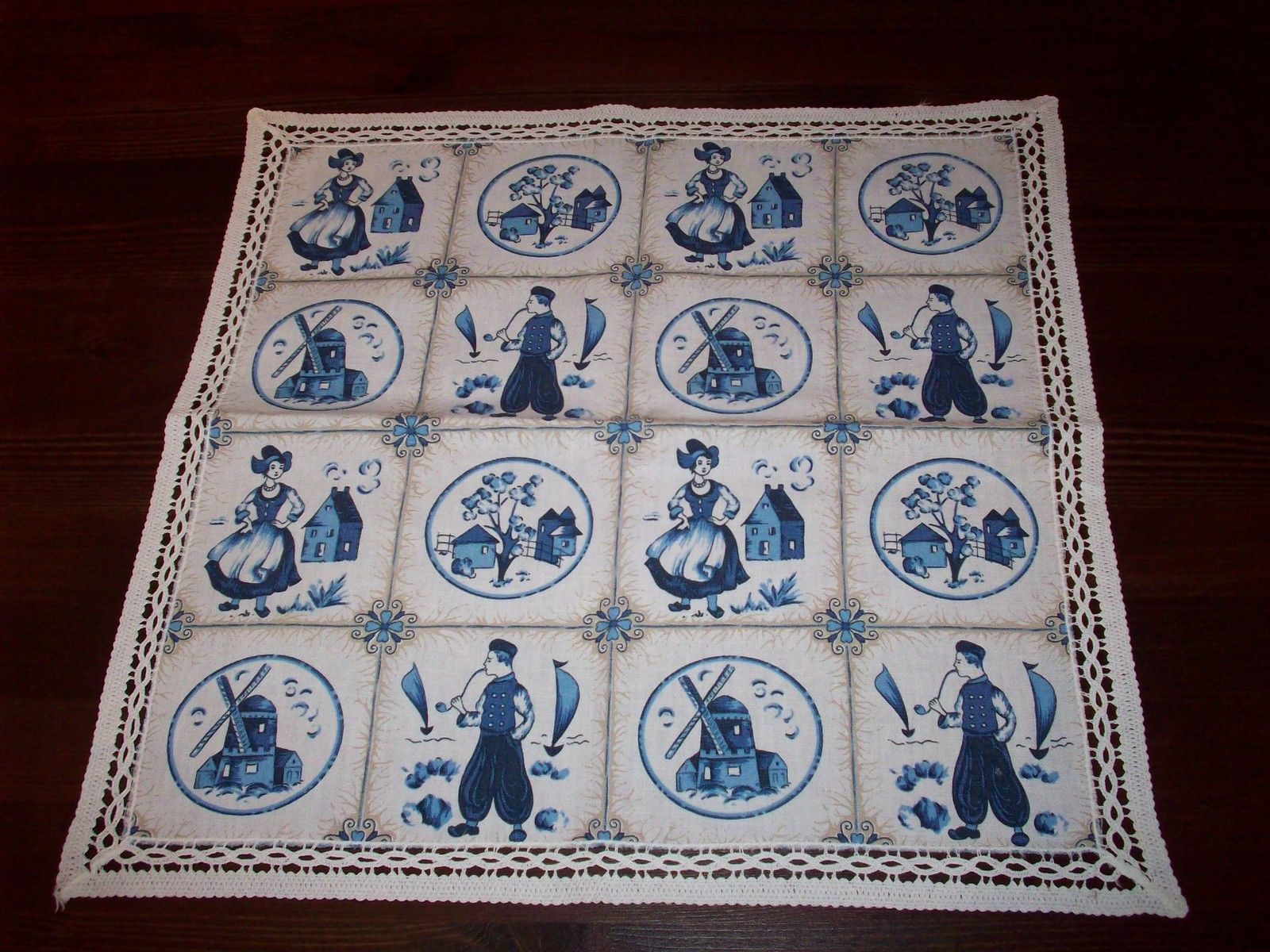 Hubsche Mitteldecke Blau Weiss Delft Motiv Holland Spitzenrand 48cm X 48cm Quilts Decor Blanket