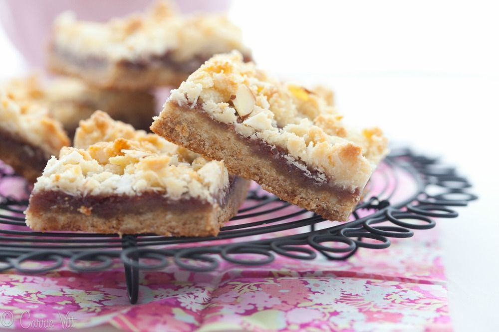 The raspberry crumble bars.Not too sweet with a crumbly coconut-almond topping.
