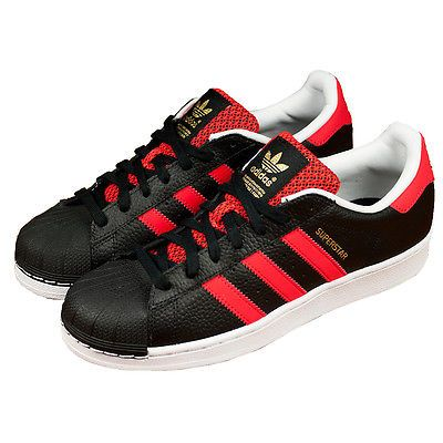 adidas superstar black white red