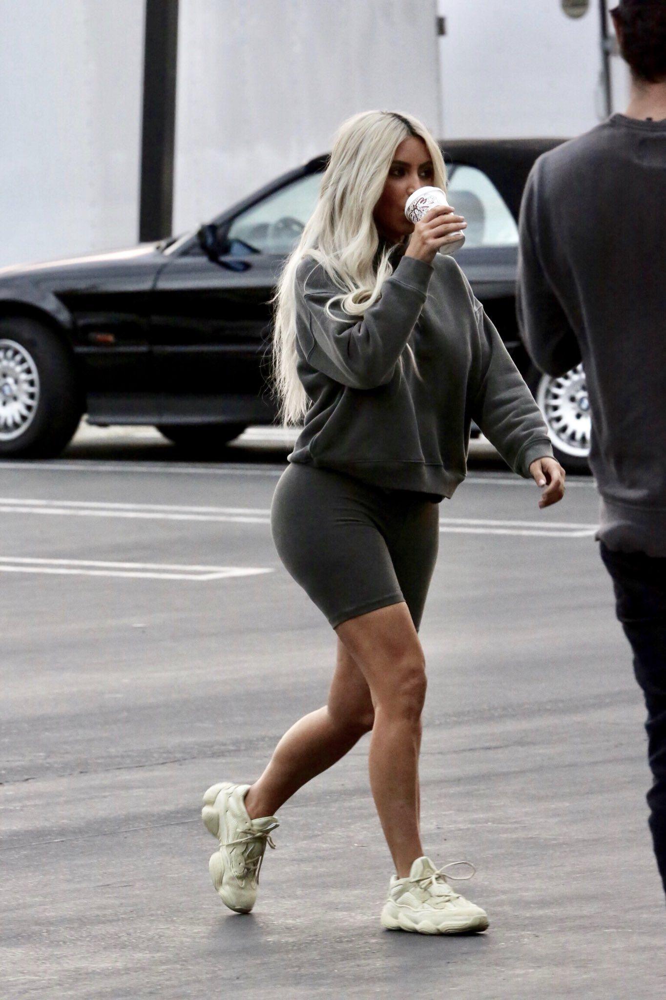 Kim Kardashian in Hoodie and Biker Shorts - Kim Kardashian