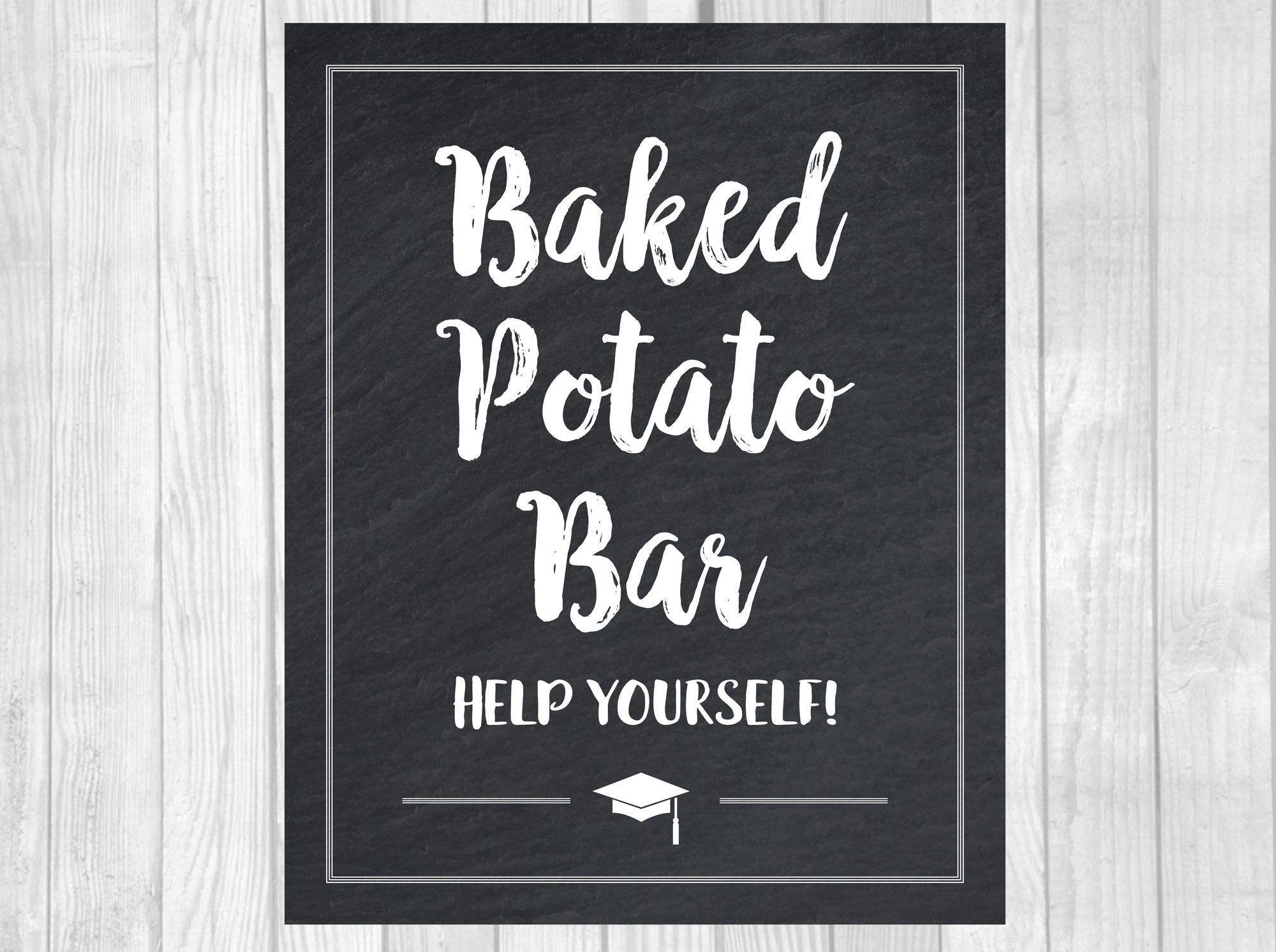 Graduation Party Baked Potato Bar 5x7 Or 8x10 Printable