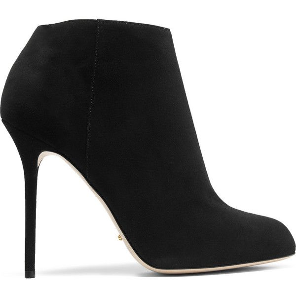 Sergio Rossi Suede ankle boots (590 CAD) ❤ liked on Polyvore featuring shoes, boots, ankle booties, black, black bootie, suede bootie, black boots, black booties and short black boots