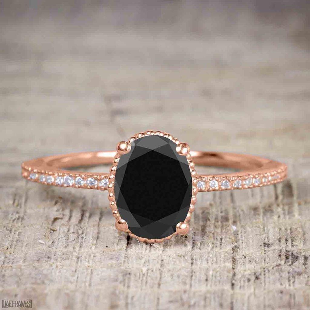 125 carat oval cut black diamond solitaire engagement