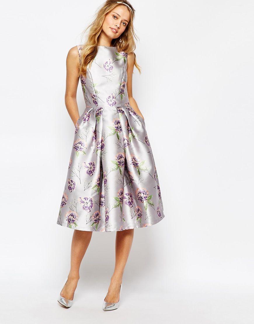 Abiti Eleganti Longuette.Chi Chi London Vestito Longuette Floreale Da Cerimonia
