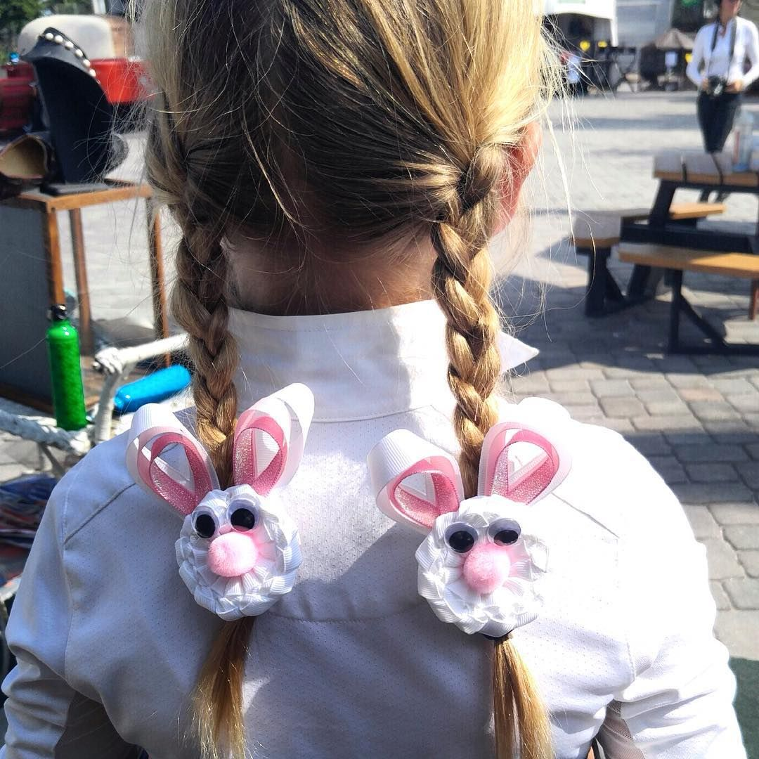 Easter Bunny Hair Clips  #hairbows #easterbunny #horseshowbows #equestrian