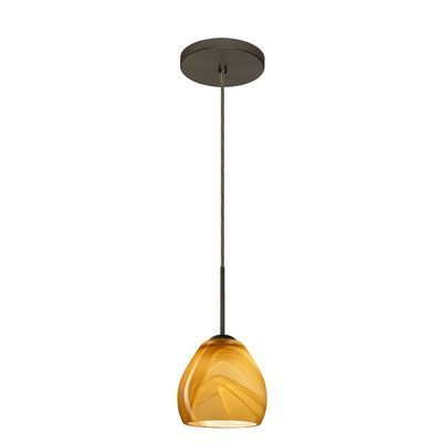 Besa Lighting Bolla 1 Light Mini Pendant Finish: Bronze, Glass Shade: Honey, Bulb Type: Incandescent or Xenon