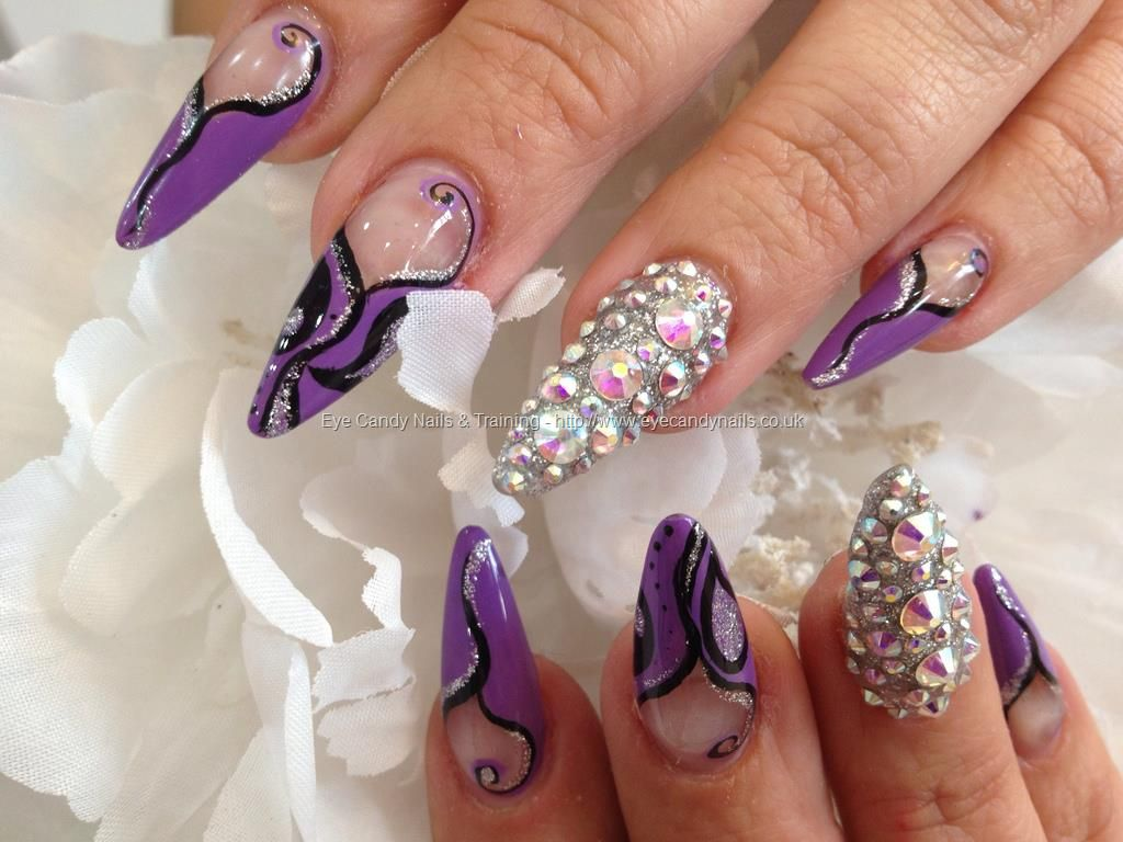 Purple, black and glitter freehand nail art with Swarovski crystal ...
