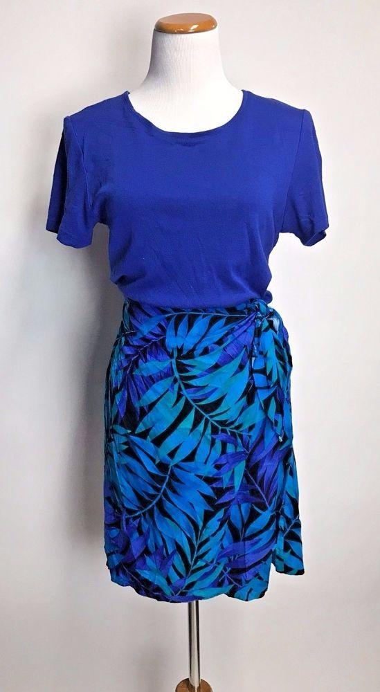 7c43c037f4c Vintage 80s Floral Wrap Tropical Romper Pinup Blue Hawaiian Playsuit Sz 10