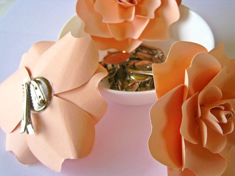 Pale Peach Paper Flower Brooch Paper Wedding Hair Accessory Paper