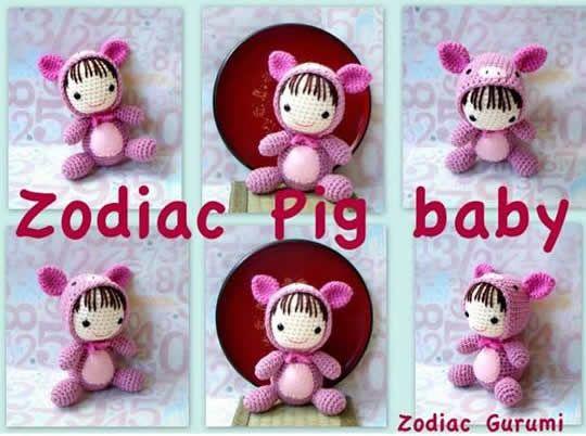 Tutorial Amigurumi Cerdito : Zodiac pig baby bebé disfrazado de cerdito patrón gratis en