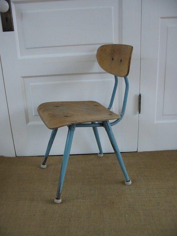 vintage industrial wood and metal school chair school chairs