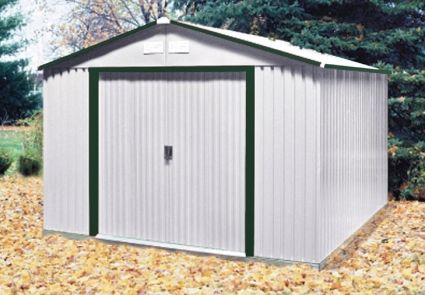 Duramax 10x12 Del Mar Colossus Metal Shed Foundation Green Trim Metal Shed Duramax Sheds Shed