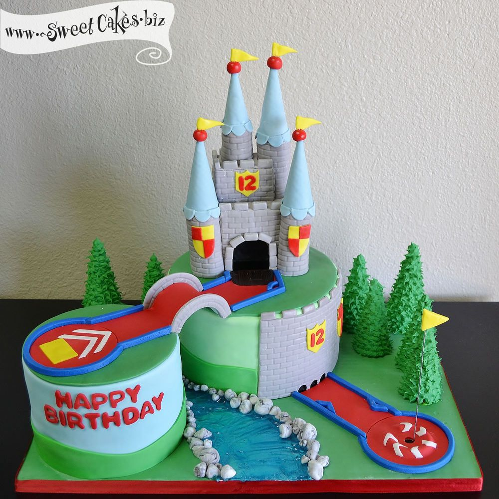 Mini golf castle birthday cake with a bridge bumpers and a mound