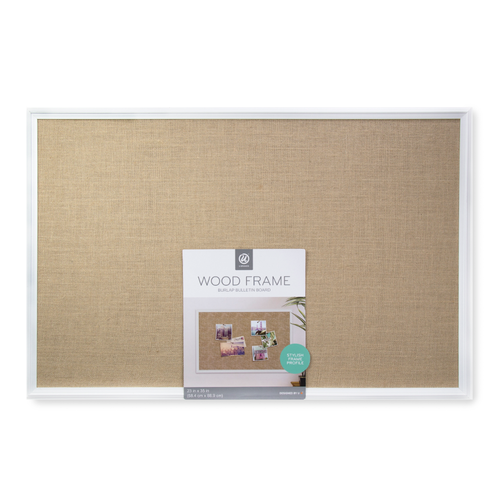Buy U Brands Cork Bulletin Burlap Board 36 X 24 Inches White Decor Frame At Walmart Com With Images Burlap Board White Decor Frame