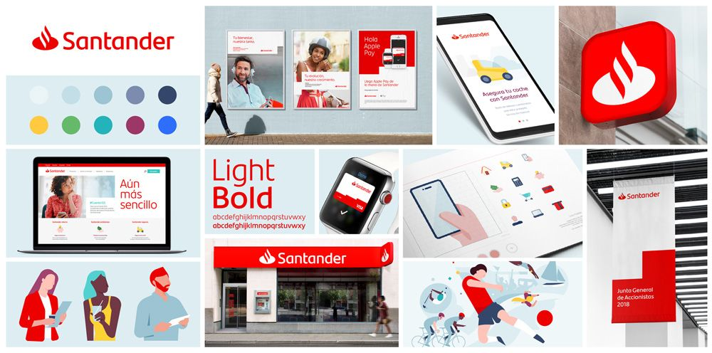 New Logo And Identity For Santander By Interbrand Santander Bank Brand Identity Bank Branding