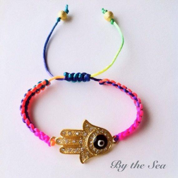 Rainbow Hamsa hand bracelet by BytheSeajewel on Etsy, ¥1800