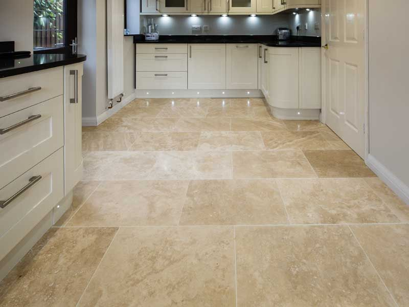 Travertine honed and filled floor tiles jc designs for Classic kitchen floor tile