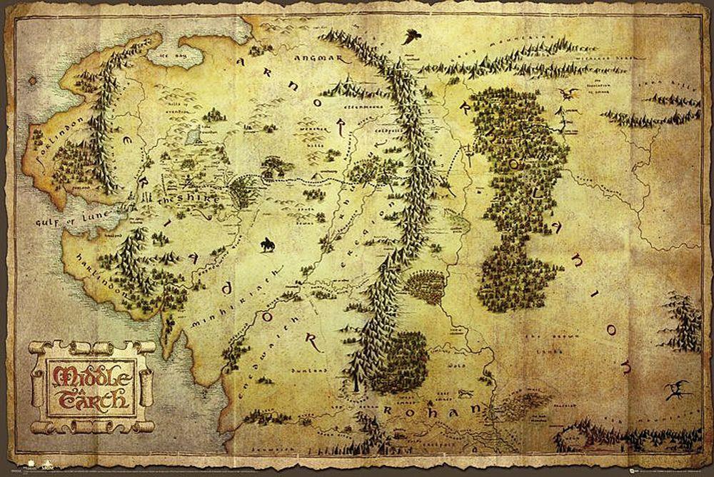 The Hobbit Poster Karte Von Mittelerde Karte Von Mittelerde