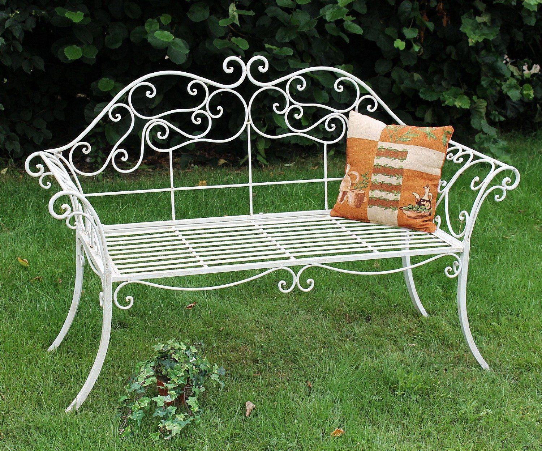 Gartenbank Weiss Metall Antik Romance Schmiedeeisen Sitzbank