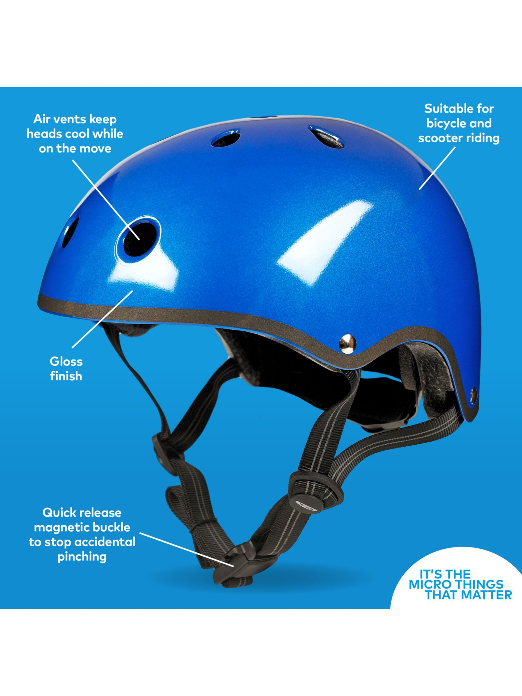 Micro Scooter Medium Safety Helmet Metallic Blue Micro Scooter