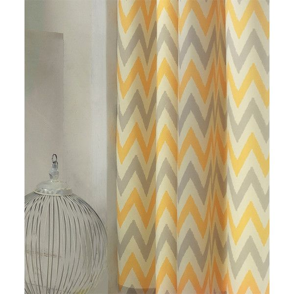 Apolena Gray Yellow Chevron Window Curtain 37 Liked On Polyvore Featuring Home Home Decor Window Grey Chevron Curtains Chevron Curtains Grey Curtains