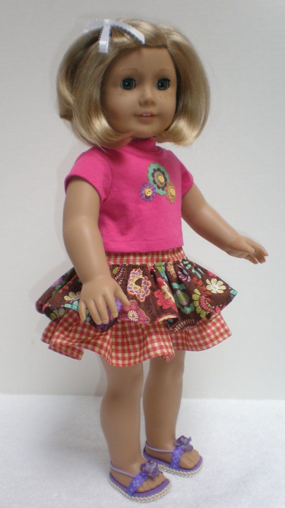Brown Floral & Gingham Ruffled Skirt Tee Shirt fits American Girl 18 inch doll