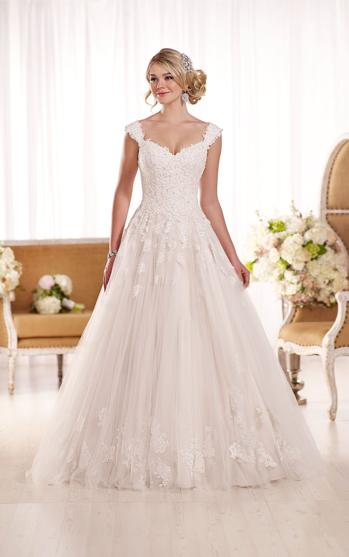 Lace wedding dress with cap sleeves from essense of australia