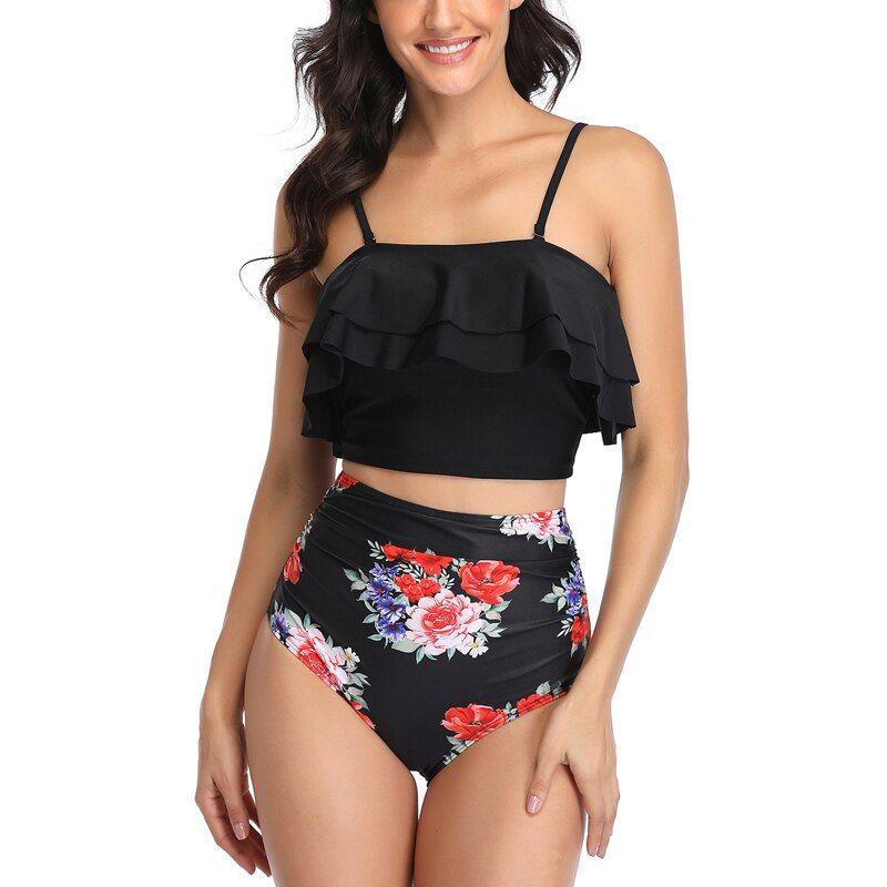 Sexy High Waist Bikini Swimwear Women Two Piece Swimsuit 2020 Push Up Monokini Plus Size Bathing Suit Female Beach Wear Biquini