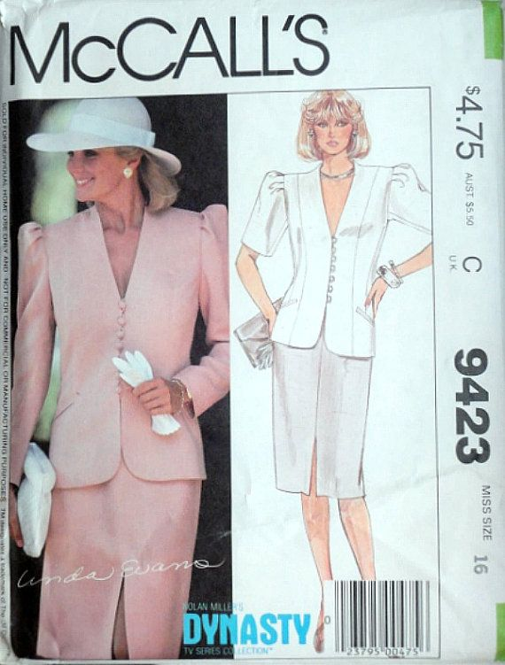 Vintage 80\'s McCall\'s 9423 Nolan Miller\'s Dynasty Collection Sewing ...