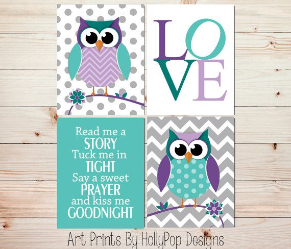 Baby girl prints Playroom wall art Owl nursery decor Girl
