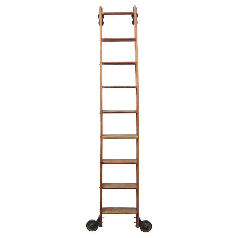 Antique Original American Library Ladder From A Unique Collection Of Antique And Modern Ladders At Http Ww Library Ladder Ladder Bookshelves In Living Room