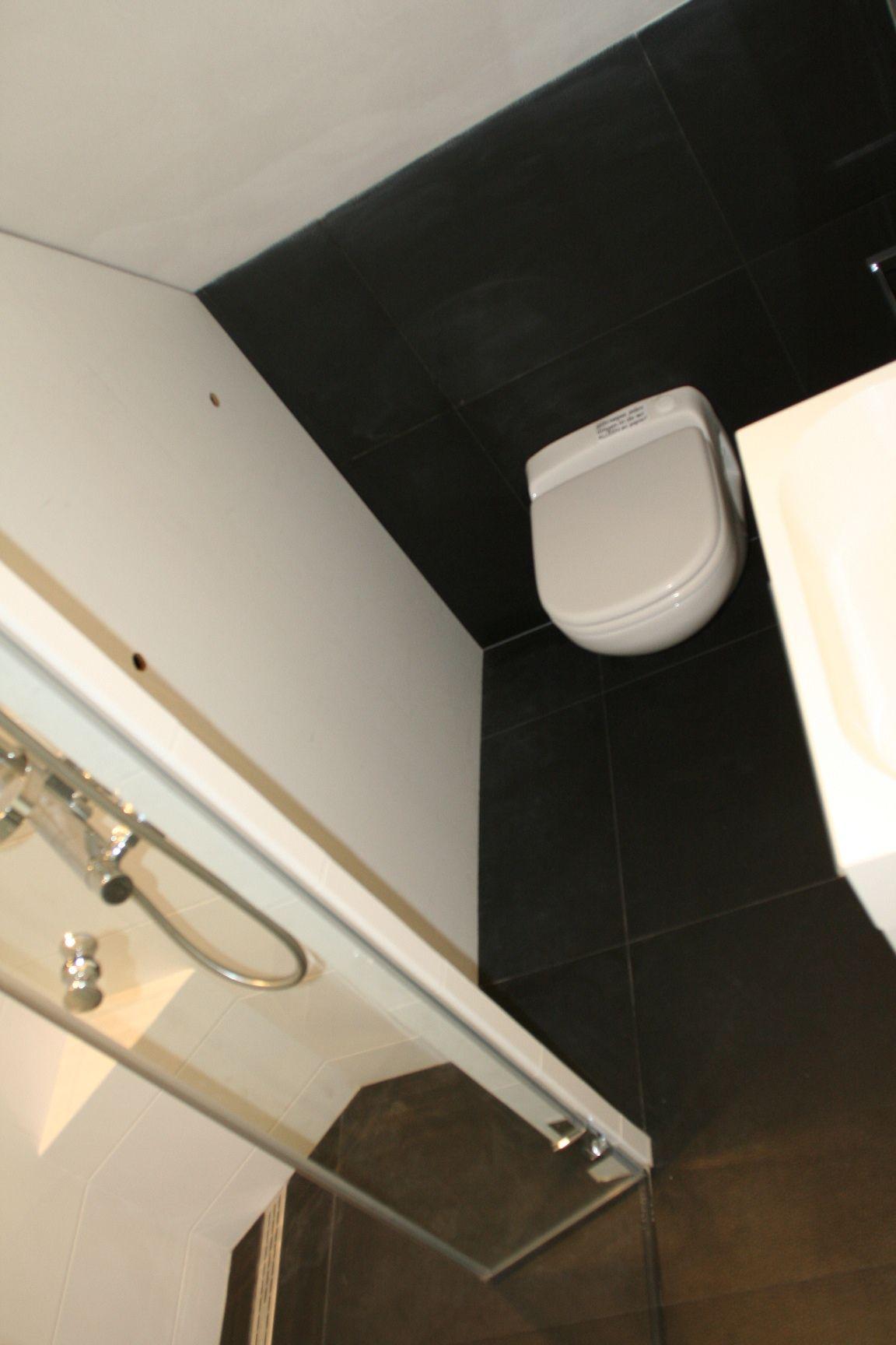 erg kleine badkamer waarin toch een toilet een wastafel een