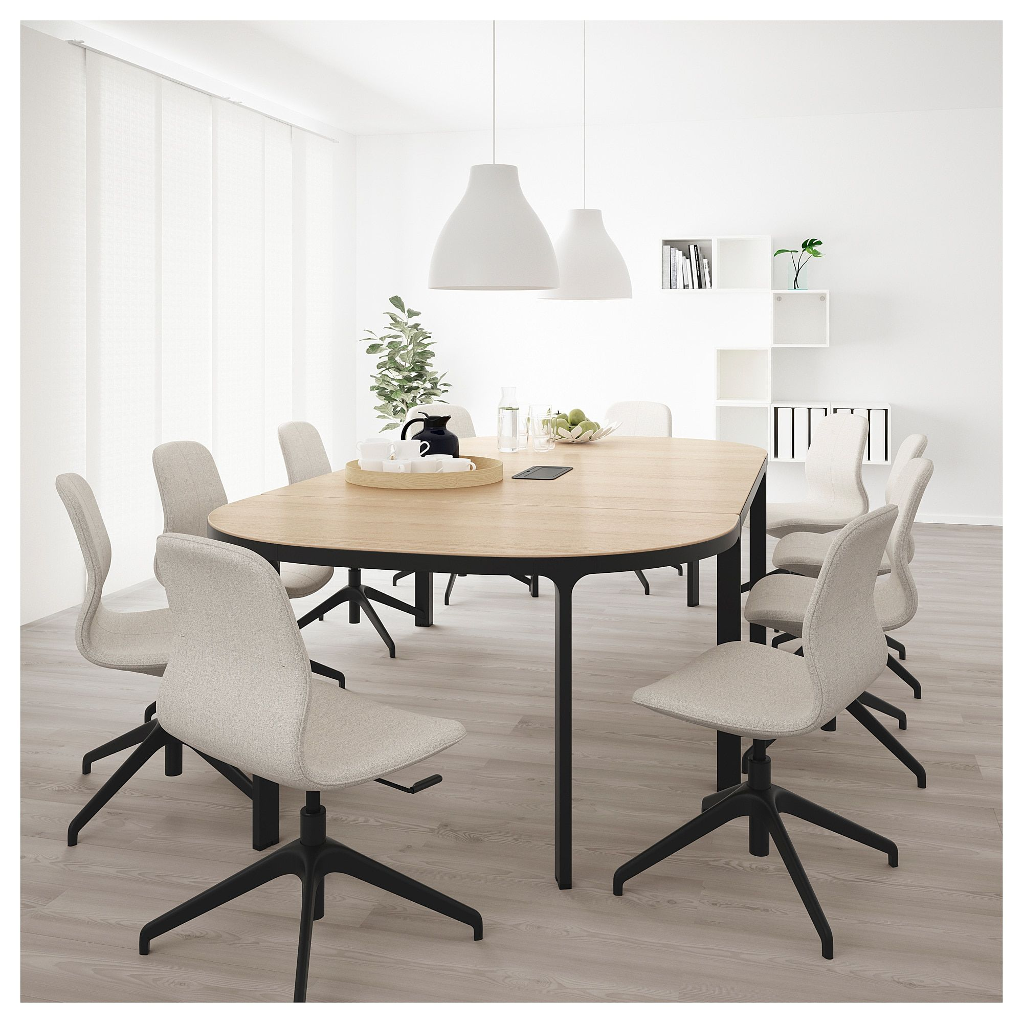 Conference Table Bekant White Stained Oak Veneer Black In 2019